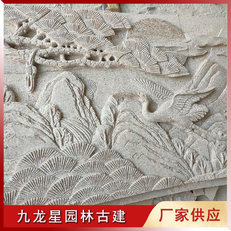 石雕浮雕松鹤加工中 半成品图