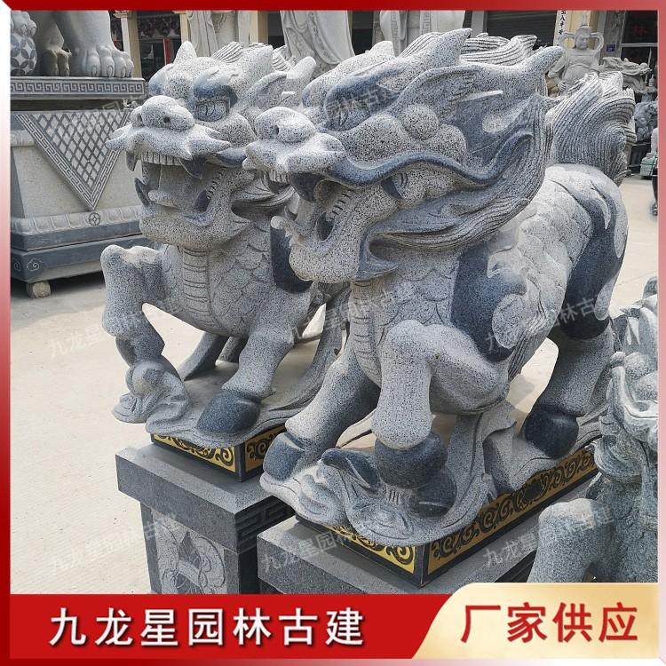 门口石雕麒麟图片