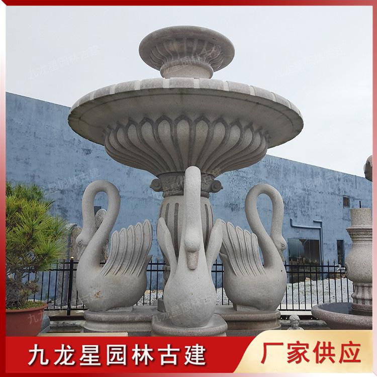 天鹅石雕喷泉水钵图片
